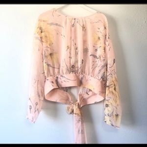 Hm conscious pink top floral long sleeve sheer NWT